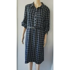 Alex Marie Black & White Square Long Sleeve Dress